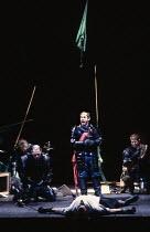 MACBETH  by Shakespeare   design: Bob Crowley   lighting: Mark Henderson   director: Adrian Noble   final scene, Macbeth slain - centre: Nicholas Woodeson (Malcolm)  Royal Shakespeare Company (RSC),...