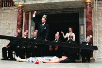 MACBETH by Shakespeare design: Laura Hopkins Master of Play (director): Tim Carroll lying on stage: Eve Best (Lady Macbeth) with Weird Sisters and companyShakespeare's Globe (SG), London SE1  05/06/20...