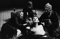 MACBETH   by Shakespeare    design: John Napier   lighting: Leo Leibovici   director: Trevor Nunn  Ian McKellen (Macbeth) with the Weird Sisters (witches), l-r: Susan Dury, Judith Harte, Marie KeanRoy...