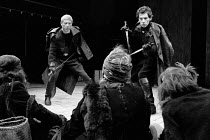 MACBETH   by Shakespeare    design: John Napier   lighting: Leo Leibovici   director: Trevor Nunn  l-r: John Woodvine (Banquo), Ian McKellen (Macbeth) facing the Weird Sisters (Witches)Royal Shakespea...