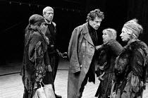 MACBETH   by Shakespeare    design: John Napier   lighting: Leo Leibovici   director: Trevor Nunn  l-r: John Woodvine (Banquo), Ian McKellen (Macbeth) with the Weird Sisters (Witches), l-r: Judith Har...