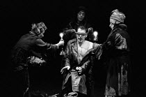 MACBETH   by Shakespeare    design: John Napier   lighting: Leo Leibovici   director: Trevor Nunn  Ian McKellen (Macbeth) with the Weird Sisters (Witches), l-r: Ann Holloway, Judith Harte, Marie KeanR...