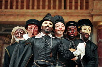 Carnival characters in THE MERCHANT OF VENICE by Shakespeare   Shakespeare's Globe, London SE1 29/05/1998 design: Jenny Tiramani director: Richard Olivier   (c) Donald Cooper/Photostage   photos@pho...