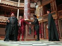 IV/i - l-r: Norbert Kentrup (Shylock), Jack Shepherd (Antonio), Andrew French (Gratiano), (Kathryn Pogson (Portia) in THE MERCHANT OF VENICE by Shakespeare   Shakespeare;s Globe, London SE1 29/05/199...
