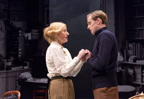 Geraldine James (Charlotte Shaw), Jack Laskey (T E Lawrence) in LAWRENCE AFTER ARABIA by Howard Brenton opening at Hampstead Theatre (HT), London NW3 on 05/05/2016   design: Michael Taylor lighting: M...