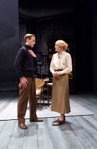 Jack Laskey (T E Lawrence), Geraldine James (Charlotte Shaw) in LAWRENCE AFTER ARABIA by Howard Brenton opening at Hampstead Theatre (HT), London NW3 on 05/05/2016   design: Michael Taylor lighting: M...