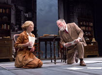 Geraldine James (Charlotte Shaw), Jeff Rawle (Bernard Shaw) in LAWRENCE AFTER ARABIA by Howard Brenton opening at Hampstead Theatre (HT), London NW3 on 05/05/2016   design: Michael Taylor lighting: Ma...
