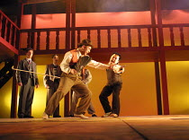 ROMEO AND JULIET by Shakespeare design: Elroy Ashmore directors: Alasdair Ramsay & Paul Courtenay Hyu III:i - Tybalt and Mercutio fight - l-r: (rear) Matthew Dennison (Benvolio), Simon Greiff (Romeo)...