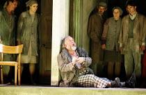 LADY MACBETH OF MTSENSK   by Shostakovich   conductor: Antonio Pappano   director: Richard Jones   peasants/workers watch poisoned Boris die: John Tomlinson (Boris Ismailov) The Royal Opera / Covent G...