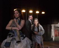 CYMBELINE by Shakespeare design: Anna Fleischle lighting: Philip Gladwell director: Melly Still I/i - l-r: Bethan Cullinane (Innogen/Imogen), James Clyde (The Duke), Gillian Bevan (Cymbeline)Royal Sha...