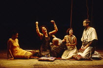 ANTONY AND CLEOPATRA by Shakespeare design: Sue Blane lighting: David Hersey director: John Caird from left, l-r: Claire Benedict (Charmian), Clare Higgins (Cleopatra), Nick Holder (Mardian), Susie Le...
