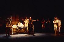 ANTONY AND CLEOPATRA by Shakespeare design: Sue Blane lighting: David Hersey director: John Caird front, l-r: Richard Johnson (Antony), Andrew Jarvis (Agrippa), John Nettles (Octavius Caesar) Royal Sh...