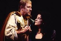 ANTONY AND CLEOPATRA by Shakespeare design: Sue Blane lighting: David Hersey director: John Caird John Nettles (Octavius Caesar), Clare Higgins (Cleopatra)Royal Shakespeare Company (RSC), Royal Shakes...