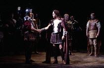 ANTONY AND CLEOPATRA by Shakespeare design: Sue Blane lighting: David Hersey director: John Caird   front, l-r: Paul Jesson (Domitius Enobarbus), Toby Stephens (Pompey)  rear centre: David Burt (Procu...