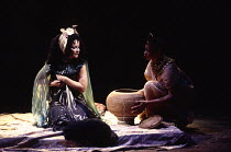 ANTONY AND CLEOPATRA by Shakespeare design: Sue Blane lighting: David Hersey director: John Caird   placing the asp on her bosom - l-r: Clare Higgins (Cleopatra), Claire Benedict (Charmian) Royal Shak...