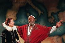 ANTONY AND CLEOPATRA   by Shakespeare   set design: Simon D. Beresford   lighting: Jim Simmons   director: Vanessa Redgrave Vanessa Redgrave (Cleopatra), Paul Butler (Mark Antony)Moving Theatre Compan...