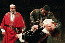 ANTONY AND CLEOPATRA   by Shakespeare   set design: Simon D. Beresford   lighting: Jim Simmons   director: Vanessa Redgrave l-r: Paul Butler (Mark Antony), David Harewood (Enobarbus), Vanessa Redgrave...