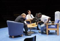 l-r: David Haig (Robert), Luke Norris (Bruce), Daniel Kaluuya (Christopher) in BLUE / ORANGE by Joe Penhall opening at the The Young Vic, London SE1 on 19/05/2016 design: Jeremy Herbert lighting: Adam...