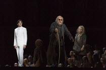 l-r: Samuel Dale Johnson (Thesee), Johan Reuter (Oedipe, blinded), Sophie Bevan (Antigone) in OEDIPE by George Enescu opening at the The Royal Opera, Covent Garden, London WC2 on 23/05/2016 libretto:...