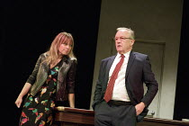 Sarah Alexander (Nina), Bruce Alexander (Jim) in THE ACCIDENTAL LEADER by Alistair Beaton opening at the Arts Theatre, London WC2 on 24/05/2016   one of 5 political satires in A VIEW FROM ISLINGTON NO...