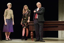 l-r: Jane Wymark (Eleanor), Sarah Alexander (Nina), Bruce Alexander (Jim) in THE ACCIDENTAL LEADER by Alistair Beaton opening at the Arts Theatre, London WC2 on 24/05/2016   one of 5 political satires...