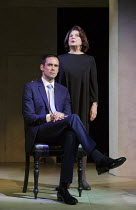 Steve John Shepherd (Gideon), Ann Mitchell (Ayn Rand) in AYN RAND TAKES A STAND by David Hare opening at the Arts Theatre, London WC2 on 24/05/2016 one of 5 political satires in A VIEW FROM ISLINGTON...