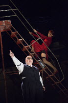 Nick Holder (Mr Peachum), Haydn Gwynne (Mrs Peachum) in THE THREEPENNY OPERA by Bertolt Brecht & Kurt Weill opening at the Olivier Theatre, National Theatre, London SE1 on 26/05/2016 in a new adaptati...