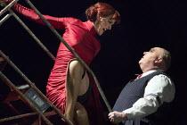 Haydn Gwynne (Mrs Peachum), Nick Holder (Mr Peachum) in THE THREEPENNY OPERA by Bertolt Brecht & Kurt Weill opening at the Olivier Theatre, National Theatre, London SE1 on 26/05/2016 in a new adaptati...