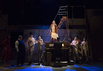 Rosalie Craig (Polly Peachum) with ensemble in THE THREEPENNY OPERA by Bertolt Brecht & Kurt Weill opening at the Olivier Theatre, National Theatre, London SE1 on 26/05/2016 in a new adaptation by Sim...