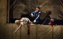 Rory Kinnear (Captain Macheath / Mack the Knife) with victims in THE THREEPENNY OPERA by Bertolt Brecht & Kurt Weill opening at the Olivier Theatre, National Theatre, London SE1 on 26/05/2016 in a new...