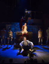 centre: Rory Kinnear (Captain Macheath / Mack the Knife), Rosalie Craig (Polly Peachum) with ensemble in THE THREEPENNY OPERA by Bertolt Brecht & Kurt Weill opening at the Olivier Theatre, National Th...