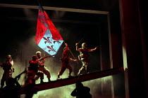 HENRY V   by Shakespeare   design: Ashley Martin-Davies   lighting: Peter Mumford   director: Ron Daniels      III/i - outside Harfleur - 'Once more unto the breach...' : Michael Sheen (King Henry V...