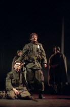 HENRY V   by Shakespeare   design: Ashley Martin-Davies   lighting: Peter Mumford   director: Ron Daniels     IV/iii - St Crispin's Day speech - l-r: Jon Fenner (Duke of Bedford), Michael Sheen   (K...