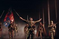 HENRY V   by Shakespeare   design: Ashley Martin-Davies   lighting: Peter Mumford   director: Ron Daniels      leading the English troops into battle : Michael Sheen (King Henry V) Royal Shakespear...