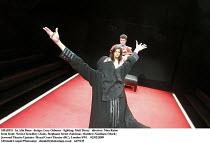SHADES   by Alia Bano   design: Lucy Osborne   lighting: Matt Drury   director: Nina Raine   from front: Navin Chowdhry (Zain), Stephanie Street (Sabrina), Matthew Needham (Mark) Jerwood Theatre Upsta...
