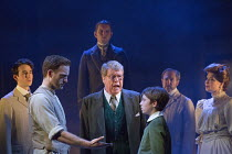 the handshake - front centre, l-r: Stuart Ward (Ted), Michael Crawford (Leo Colston), William Thompson (young Leo) with (right) Issy Van Randwyck (Mrs Maudsley) in THE GO-BETWEEN opening at the Apollo...