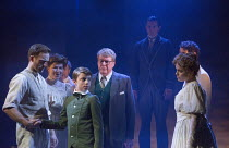 the handshake - front, l-r: Stuart Ward (Ted), Issy Van Randwyck (Mrs Maudsley), William Thompson (young Leo), Michael Crawford (Leo Colston), Gemma Sutton (Marian) in THE GO-BETWEEN opening at the Ap...