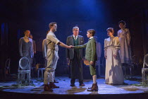 the handshake - front, l-r: Stuart Ward (Ted), Michael Crawford (Leo Colston), William Thompson (young Leo), Issy Van Randwyck (Mrs Maudsley) in THE GO-BETWEEN opening at the Apollo Theatre, London W1...