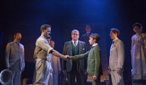 the handshake - centre, l-r: Stuart Ward (Ted), Michael Crawford (Leo Colston), William Thompson (young Leo) in THE GO-BETWEEN opening at the Apollo Theatre, London W1 on 07/06/2016     music & lyrics...