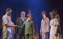 the handshake - front, l-r: Stuart Ward (Ted), Michael Crawford (Leo Colston), William Thompson (young Leo), Gemma Sutton (Marian) in THE GO-BETWEEN opening at the Apollo Theatre, London W1 on 07/06/2...