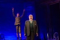 Michael Crawford (Leo Colston) with (top left) William Thompson (young Leo) in THE GO-BETWEEN opening at the Apollo Theatre, London W1 on 07/06/2016     music & lyrics: Richard Taylor book & lyrics: D...
