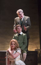 Michael Crawford (Leo Colston) with William Thompson (young Leo) and Gemma Sutton (Marian) in THE GO-BETWEEN opening at the Apollo Theatre, London W1 on 07/06/2016     music & lyrics: Richard Taylor b...