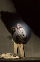 Act 3 - video projection of blood flowing from his wounds: Stuart Skelton (Tristan) in TRISTAN AND ISOLDE by Wagner opening at English National Opera (ENO), London Coliseum WC2 on 09/06/2016  English...