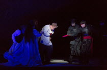 Act 2 - centre: Stuart Skelton (Tristan) wounded by Melot's sword right: Stephen Rooke (Melot)  in TRISTAN AND ISOLDE by Wagner opening at English National Opera (ENO), London Coliseum WC2 on 09/06/20...