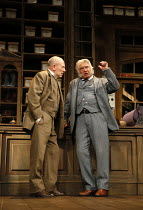 l-r: Christopher Timothy (Jim Heeler), Martin Shaw (Henry Horatio Hobson) in HOBSON'S CHOICE by Harold Brighouse opening at the Vaudeville Theatre, London WC2 on 14/06/2016   a Theatre Royal Bath prod...