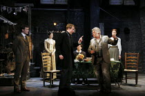 front centre, l-r: Joe Bannister (Albert Prosser), Martin Shaw (Henry Horatio Hobson) with (left) Ryan Saunders (Freddie Beenstock) and (rear, l-r) Gabrielle Dempsey (Vickey Hobson), Bryan Dick (Willy...