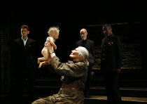 Vanessa Redgrave (Queen Margaret) with (rear, l-r) Joseph Arkley (Earl Rivers), Finbar Lynch (Duke of Buckingham), Joseph Mydell (Lord Stanley) in RICHARD III by Shakespeare opening at the Almeida The...