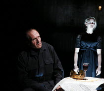 apparition of the ghost of Lady Anne: Ralph Fiennes (Richard, Duke of Gloucester), Joanna Vanderham (Lady Anne) in RICHARD III by Shakespeare opening at the Almeida Theatre, London N1 on 16/06/2016  s...