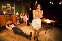 front: George Turvey (Ben), Nesba Crenshaw (Esther) rear: David Bromley (Abe), Helen Coles (Maxine) in NO VILLAIN by Arthur Miller opening at Trafalgar Studios 2, London SW1 on 20/06/2016 an Old Red L...