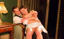 David Bromley (Abe), Helen Coles (Maxine) in NO VILLAIN by Arthur Miller opening at Trafalgar Studios 2, London SW1 on 20/06/2016 an Old Red Lion production design: Max Dorey lighting: Jack Weir direc...